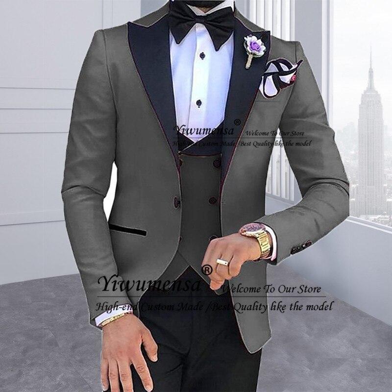 Мужские костюмы из 3 предметов для мужчин на заказ Terno Slim Fit для жениха на заказ Черная шаль с отворотом зеленый Свадебный мужской костюм Masculino - 2