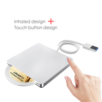 USB3.0 חיצוני כונן אופטי חריץ טעינה עם מגע כפתור מחשב נייד נייד כונן אופטי USB 3.0 DVD צורב-במארזים לכוננים אופטיים מתוך מחשב ומשרד באתר