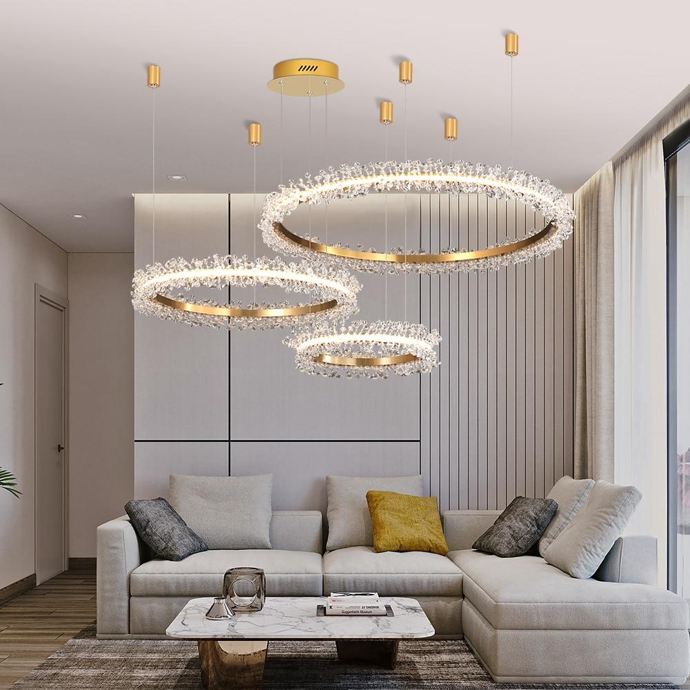 Image 2 - Современная хрустальная люстра, освещение для гостиной, Золотое кольцо, светодиодные люстры, украшение дома, блеск, Кристальные лампы-in Люстры from Лампы и освещение