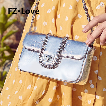 Genuine Leather Quilted Crossbody Bag for Women Purse with Chain Strap Shoulder Handbags Satchel Clutch Small Flip Bags Silvery