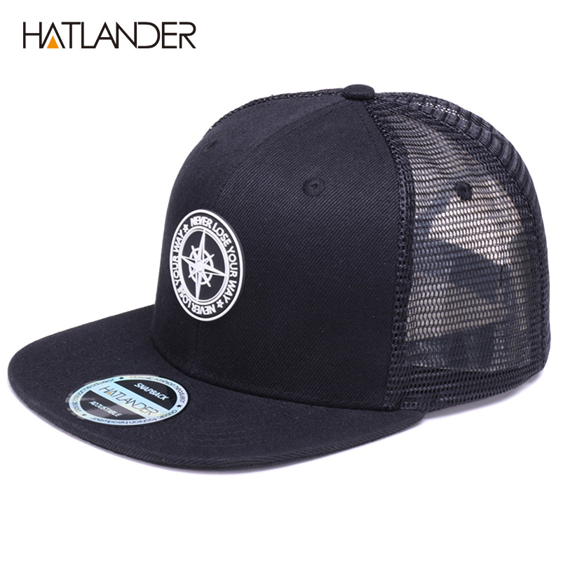 H87dba86111914b9a851f4e31d80d56241 - HATLANDER Original Baseball caps for men women black snapback cap high quality cool hip hop cap 6panels bone mesh truck cap hat