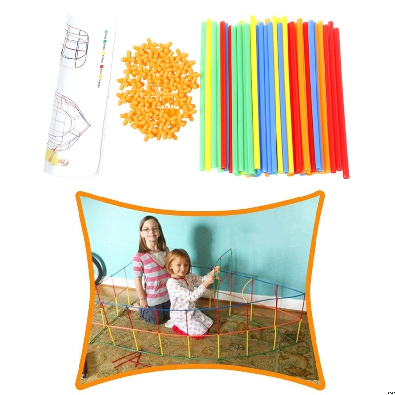 100Pcs Colorful Plastic Straw Assembled Building Blocks Children Educational Toy