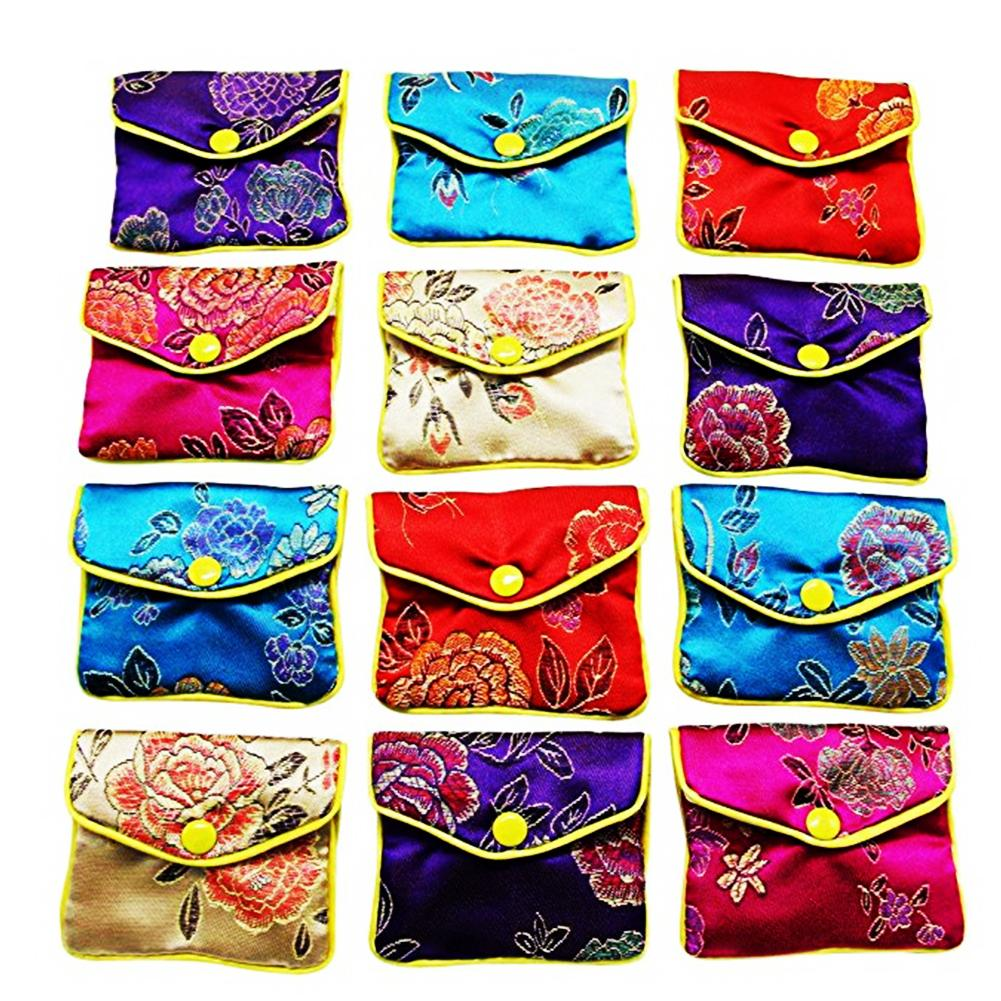 12 Pcs Brocade Handmade Purse Silk Embroidery Padded Zipper Small Jewelry Gift Storage Pouch Bag Snap Case Satin Coin Purse
