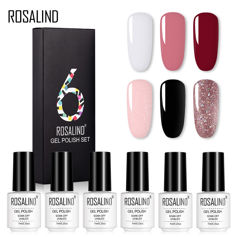 (6PCS/LOT)ROSALIND Nail Gel Set 7ml Pure Colors UV Nail Gel Polish Need Base Top Coat Soak Off Nail Art Semi Permanent Manicure