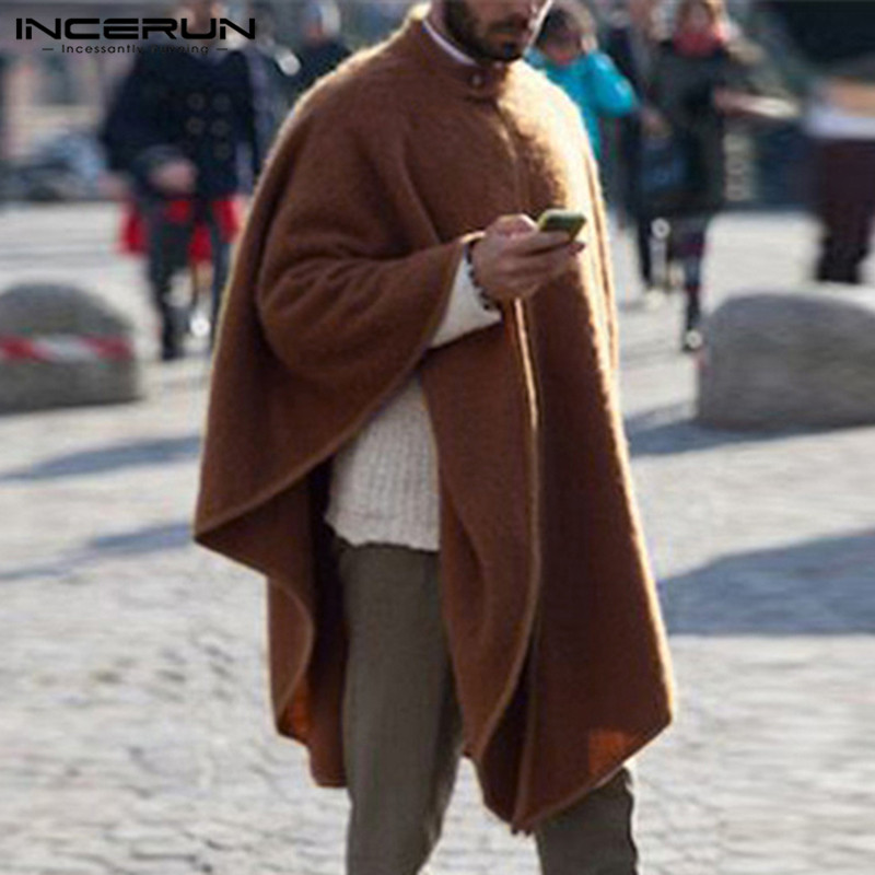 INCERUN Men Cloak Solid Color Trench Fashion Stand Collar Loose Chic Cape Jackets Winter Men Poncho Coats  Streetwear Pullovers