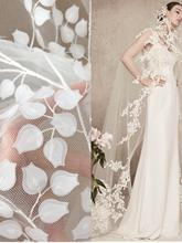 3D off white vine blossom flower lace applique tulle embroidery pacth motif for bridal gown veils couture design