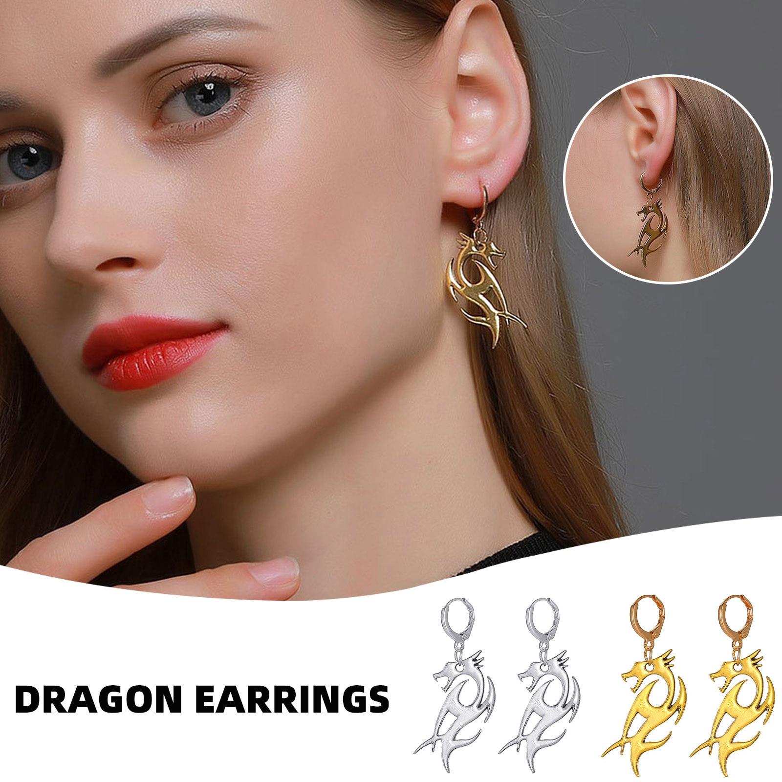 Женские серьги-гвоздики в виде дракона, золотистые серьги из металлического сплава в форме тотемного животного, ювелирные изделия в подаро...
