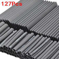 127Pcs Black Glue Weatherproof Heat Shrink Sleeving Tubing Tube Assortment Kit Electrical Connection Electrical Wire Wrap Cable