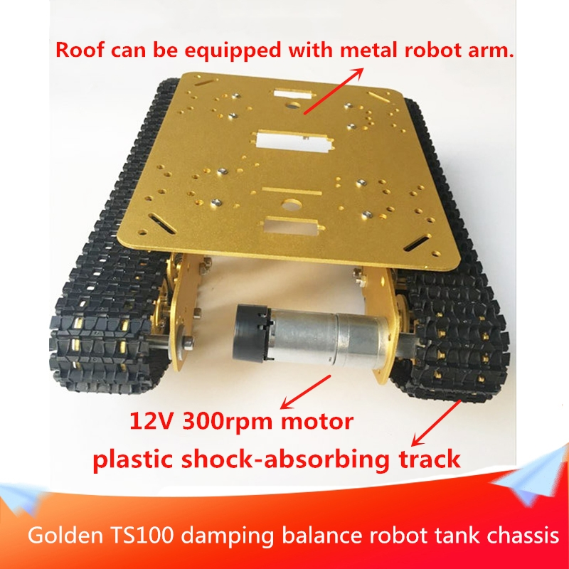 Golden TS100 Damping Balance Robot Tank Chassis Metal Aluminum Alloy Structure Roof Can be Equipped with Metal Robot Arm DIY