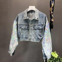 Harajuku Fashion Rainbow Pailletten Applicaties Korte Jeans Jas Vrouwen Nep Bont Cartoon Batwing Mouw Denim Jas Dames Jas Nieuwe(China)