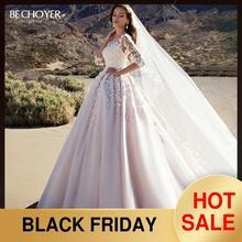 BECHOYER מתוקה אפליקציות חתונת שמלת מקסים 3D פרחי אונליין ורוד נסיכת K192 Vestido דה Noiva מותאם אישית כלה שמלה