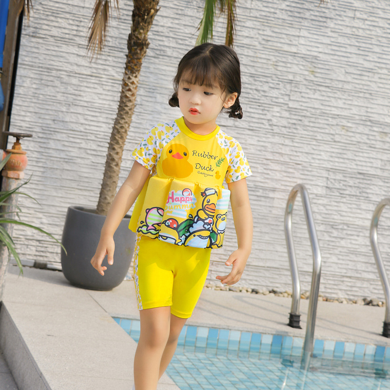 2019 New Style Children Buoyancy Tour Bathing Suit Girls' Short Sleeve Shirt Cartoon Baby CHILDREN'S Bathing Suit One-piece Floa