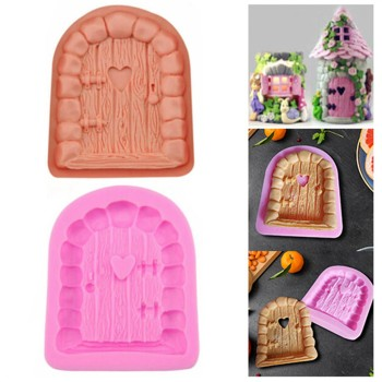 25# Cake Tools 3d Firy House Door Silicone Fondant Mould Cake Decorating Chocolate Craft Mold Handmade Diy Cake Silicone Mold image