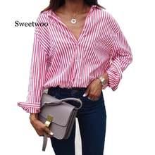 Женская полосатая блузка с длинным рукавом свободная Осенняя