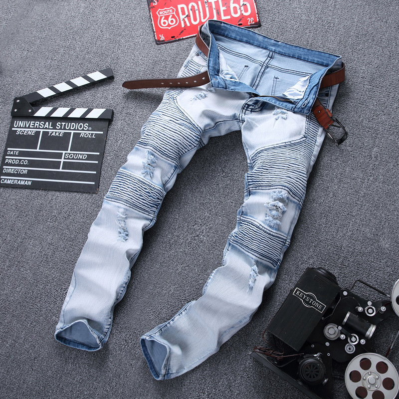 Biker JEANS Locomotive Pleated With Holes Jeans Men Elasticity Slim Fit Skinny Pants Youth High Street Pants