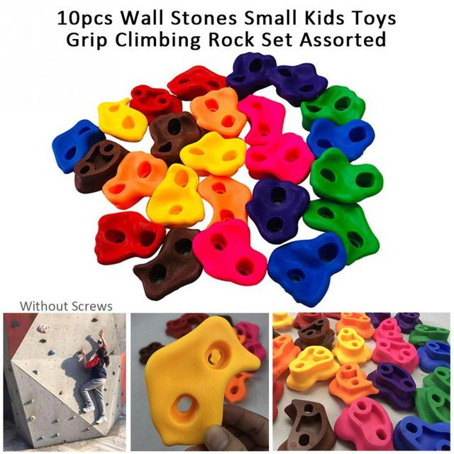 10PCSกลางแจ้งในร่มเด็กปีนเขาRockชุดผนังหินสนามเด็กเล่นไม่มีสกรูขนาดเล็กBackyardปีนเขาRockชุด