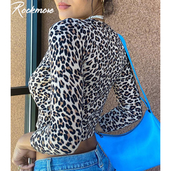 Rockmore Leopard Print Button Open Stitch Tee Shirt Women Bodycon Womens Long Sleeve Tops Crop Streetwear Casual Autumn Tshirt