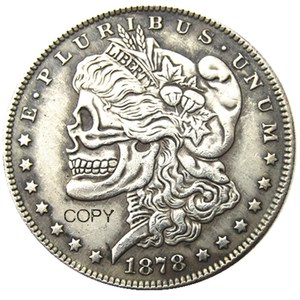 US 1878-P-CC-S Morgan Dollar skull zombie skeleton hand carved Silver Plated Copy Coins(China)