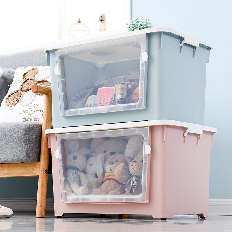 Large Plastic Storage Box Side Opening Transparent Visible Clothes Quilt Storage Box With Wheel Finishing Box WF806342