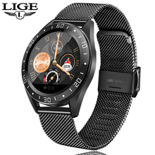 LIGE Smart Watch Men Fitness Tracker Heart Rate Bl