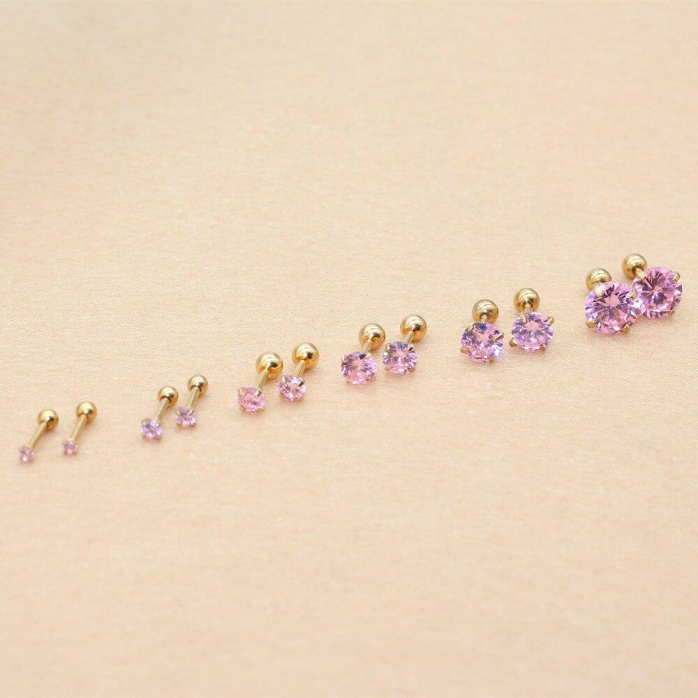 Needle 1.2*6MM Stainless Steel Screw-back Pink Zircon Stud Earrings Golden IP Plating No easy Fade Allergy Free