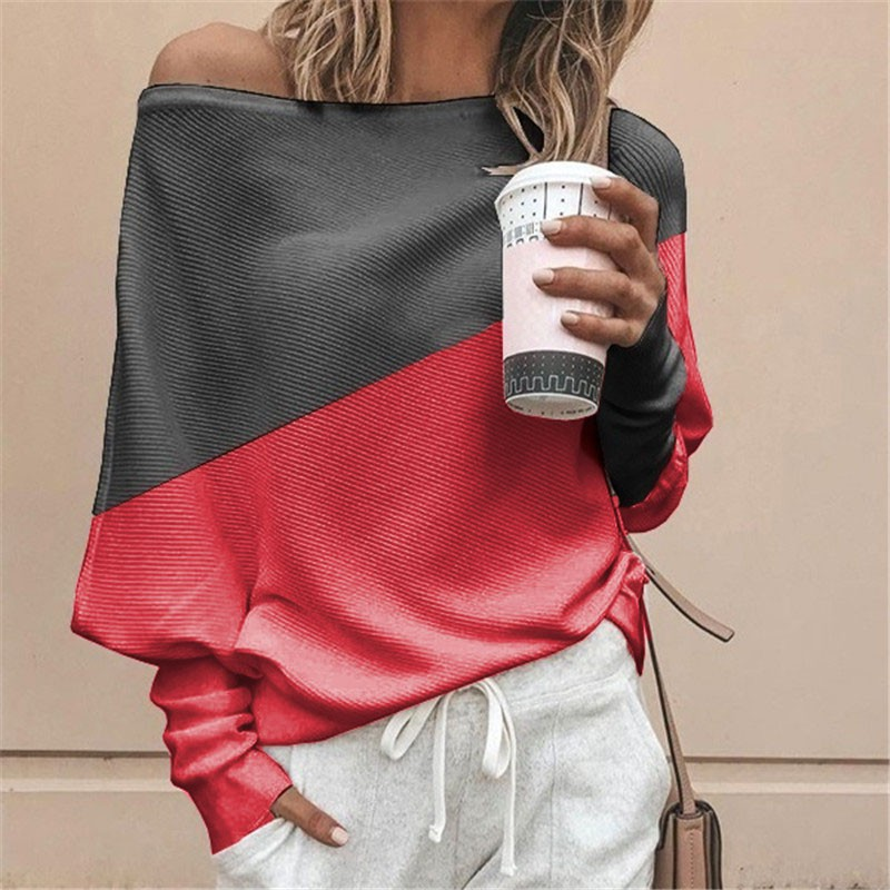 Women Color Matching Oblique Collar Off-the-shoulder Long Sleeve Casual T-shirt Pullover Loose Tops
