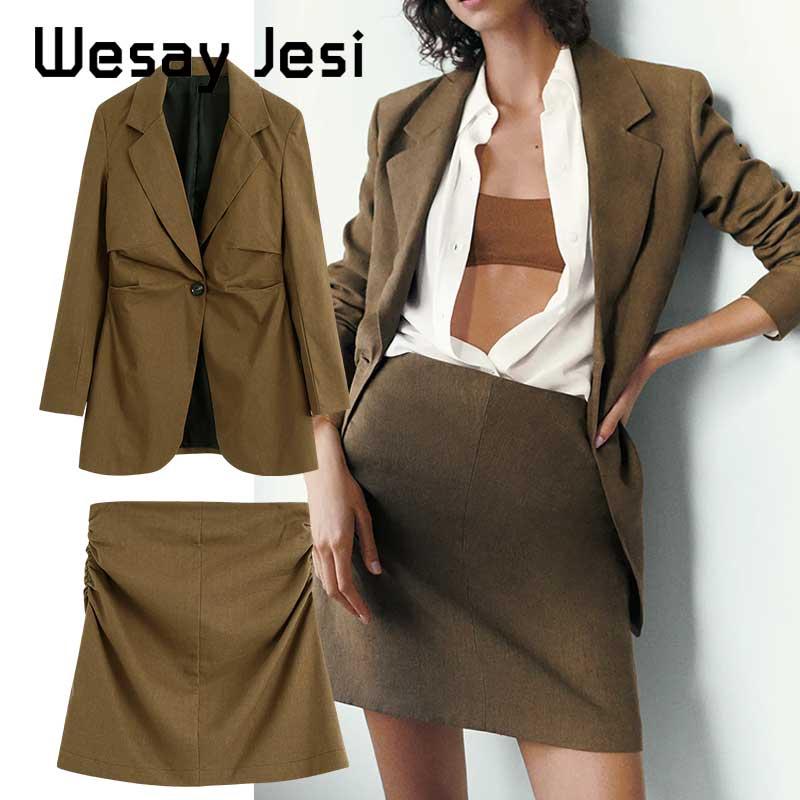 2020 Англии дамы офис старинные негабаритных блейзер женщины za блейзер прямые юбки высокая улица женщины пиджаки 2 шт наборы