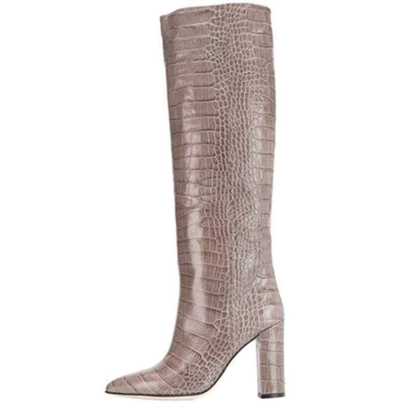 נשים מגפי זהב תנין עור מרקם בולט עור פרה נעלי אופנה zip גברת עקבים 2019 חדש מעצב מותג נשים נעליים