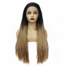 Glueless Synthetic Lace Front Wig Dark Roots Ombre Brown Box Braids with Baby Hair Long Women's Braided Wig for Women Free Part adiors long senegal twists braids lace front synthetic wig