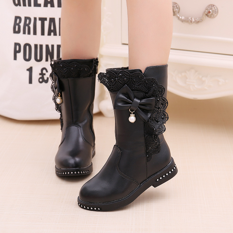Winter Boots For Girls Shoes Leather Boots Fashion Children Shoes Lace Bow Big Kids High Tube Boots Little Girls Boots 3-14 Year