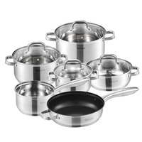 Velaze Cookware Set Stainless Steel 10 Piece Cooking Pot Set,Induction Safe,Non Stick Frying Pan,Saucepan,Casserole,Glass Lid