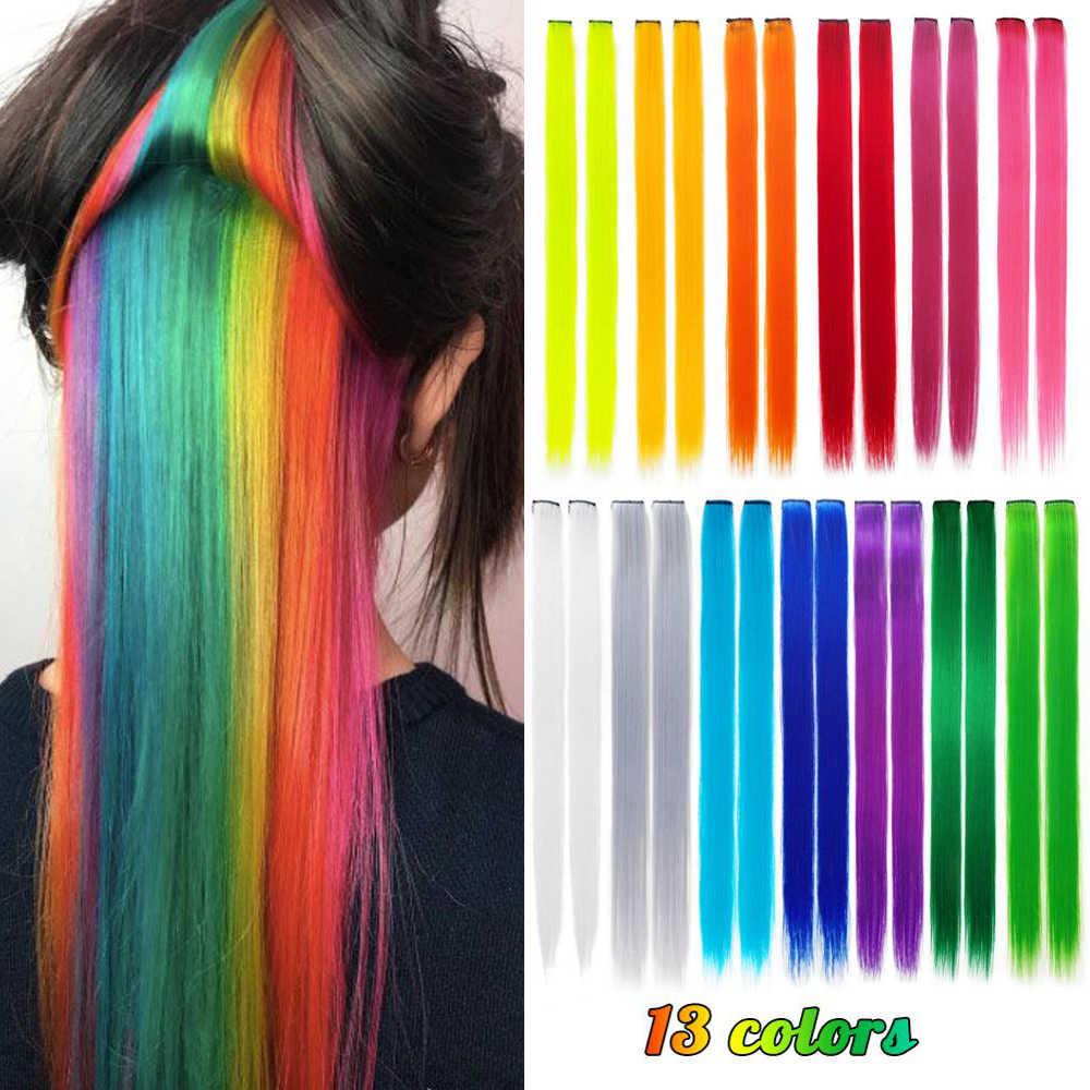 """Oniks oniks gökkuşağı renkli uzun 20 """"düz Ombre sentetik saç uzantıları saf klip tek parça şeritler postiş kadınlar için"""