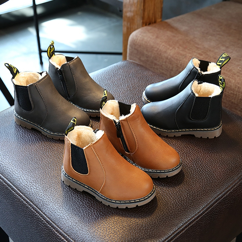 Russian Children Fashion Boots Winter Wool Teen Girls Chelsea Boot With Zip Big Boys Snow Boots PU Leather Sneakers Baby Kids