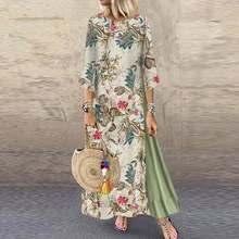 Dress Robe Flroal-Printed Pacthwork Bohemian Autumn Women Vintage Plus-Size Casual Half