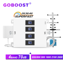 GOBOOST 70dB 4 band signal booster gsm 2g 3g 4g amplifier 3g 850 LTE 800 900 1800 2100 2600 repeater mobile phone signal antenna