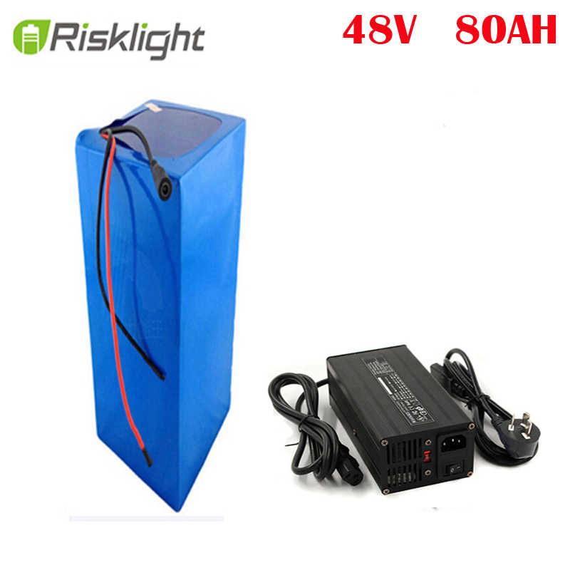 Customized 48V Lithium Battery Pack 48V 80Ah e-Bike Battery plus Charger 50A BMS for 2000W Bafang Motor with 5A charger