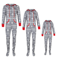 Christmas Family Suit Hooded Sleepwear Romper Kid Matching Clothes Daddy Mom And Baby Xmas Zipper Pajama