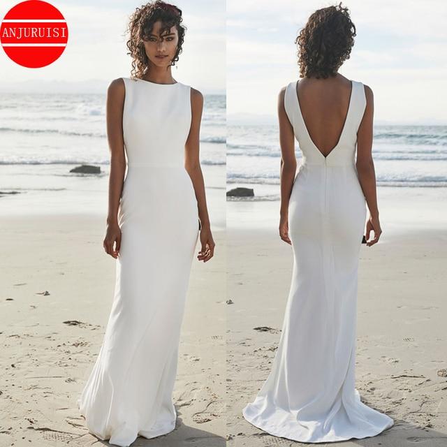 ANJURUISI 2020 Beach Wedding Dresses V Back Soft Satin Sweep Train Cheap Long Boho Bohemian Mermaid Bride Dress Backless Plus 1