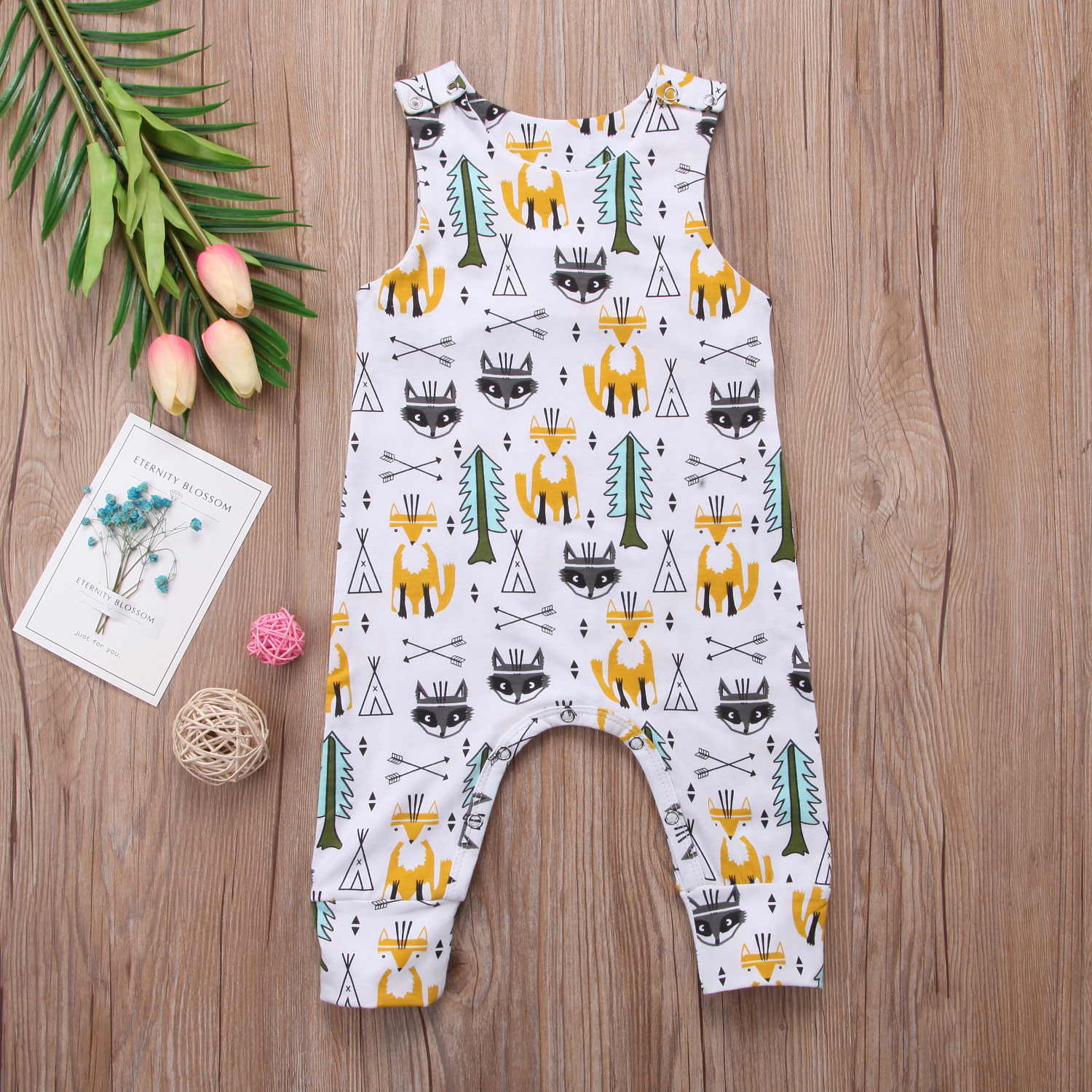 Newborn Kids Baby Boy Girl Jumpsuit Cartoon Printing Playsuit Clothes One Pieces