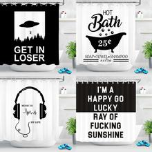 Modern Black and White Shower Curtain Funny Quotes Fabric Mildew Resistant Waterproof High Quality Shower Curtains for Bathroom hippo shadow water resistant fabric shower curtain