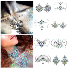 Temporary Women's Tattoos Fake Tattoo Stickers Chest Jewels Crystal Face Decoration Diamond Acrylic Rhinestone Face Stickers Hot