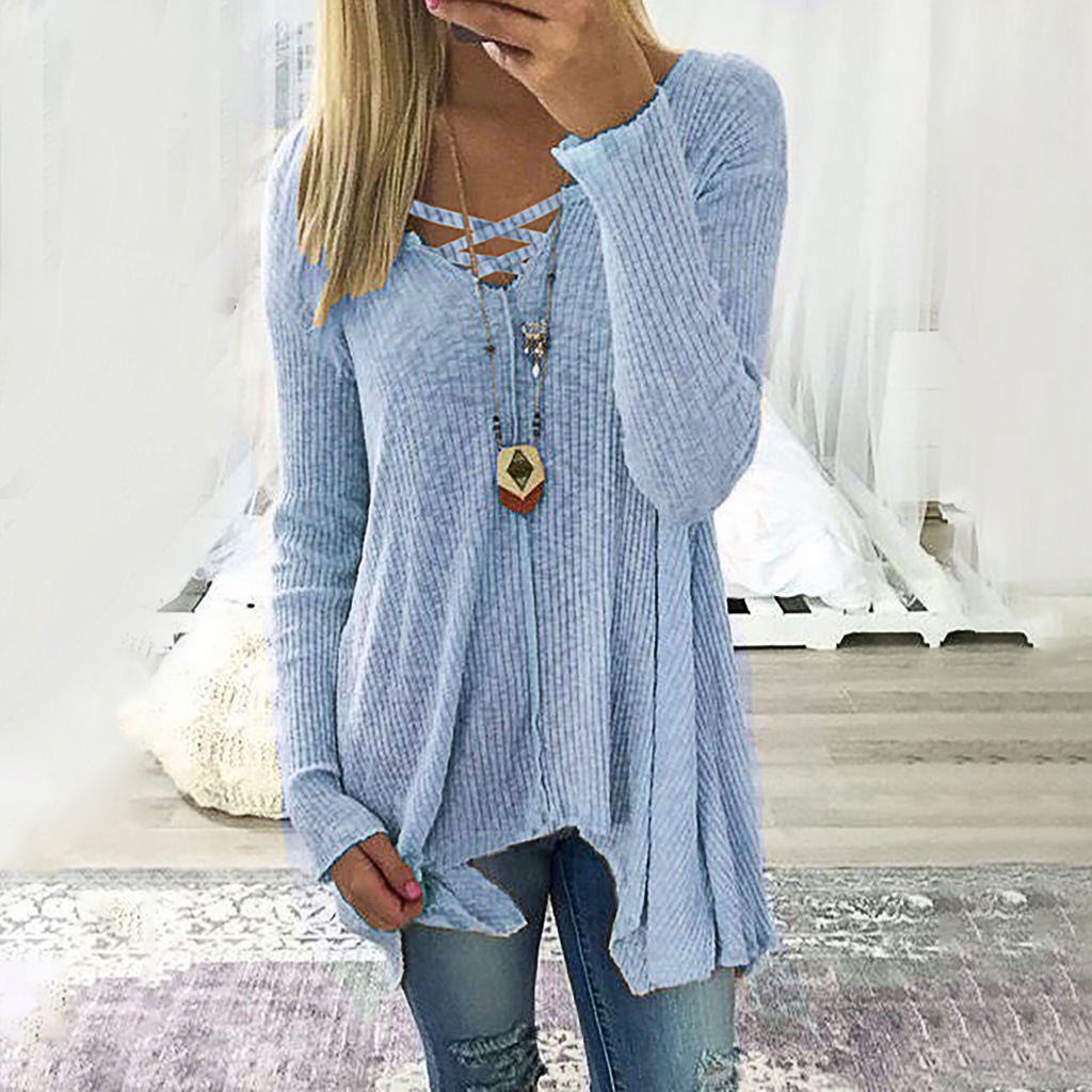 New Women's Sweater Autumn Winter Sweters Women Invierno Solid Color Pullover Sexy V-neck Irregular Top Fashion Knitting Sweater