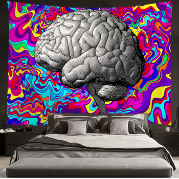 Brain Tapestry Abstract Hippe Flower Wall Hanging Tapestries for Living Room Bedroom Dorm Home Decor image