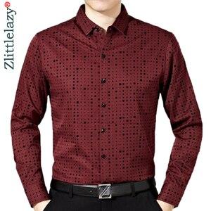 Image 1 - 2020 זכר אופנה מותג מקרית עסקי Slim Fit גברים חולצה Camisa ארוך שרוול Pllka דוט חברתי חולצות שמלת בגדי ג רזי 374