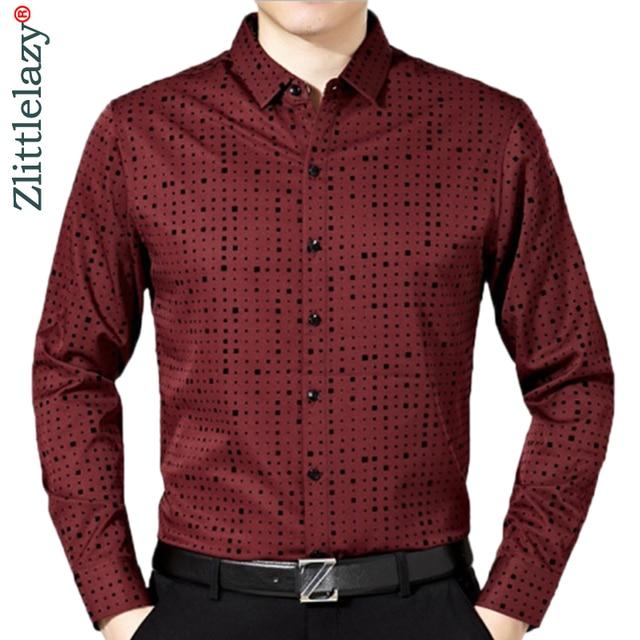 2020 זכר אופנה מותג מקרית עסקי Slim Fit גברים חולצה Camisa ארוך שרוול Pllka דוט חברתי חולצות שמלת בגדי ג רזי 374