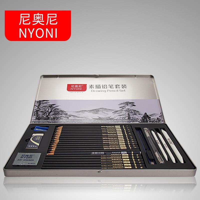 conjunto de lapis de esboco profissional kit de desenho de carvao e tubo de madeira para
