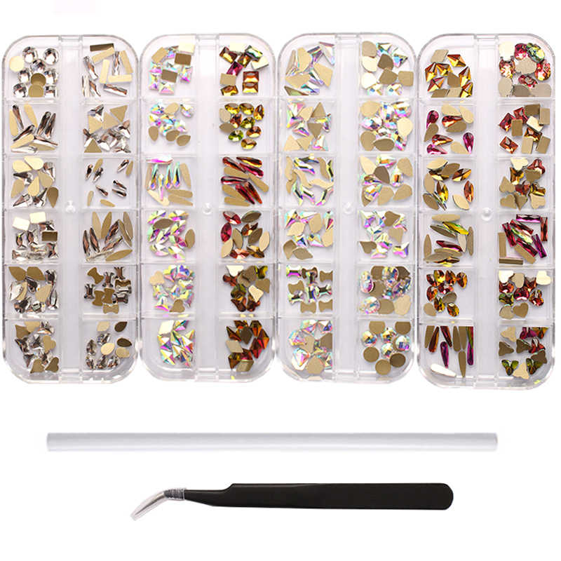 1 Set Multi-Vorm Flat Terug Multi-Size Glas Kristal/Ab/Rainbow Rhinestone Nail Art Craft crystal 3D Decor Flat Terug Strass