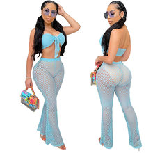 2020 New Hollow out Beach cover up set sexy women tube Tops+ flare long pants sexy women see through bikini swimwear cover up(China)