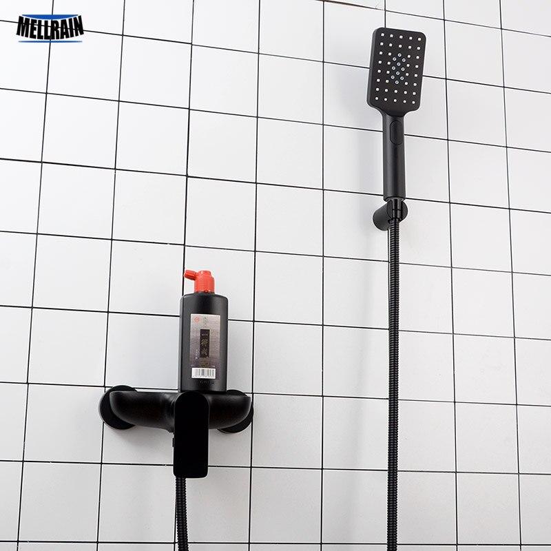 Bad Schwarz Dusche Wasserhahn Wand Montiert Einzigen Weg Hand Halten Dusche Set Messing Bad Wasser Mischbatterie Ware