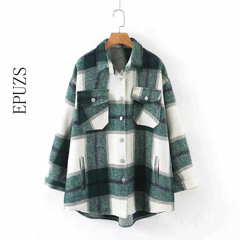Осенне-зимняя зеленая клетчатая куртка и пальто, модное пальто на пуговицах с длинным рукавом, Повседневная теплая офисная верхняя одежда, ...